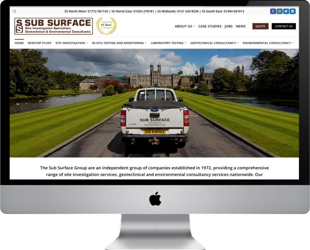 website design for technical ground services
