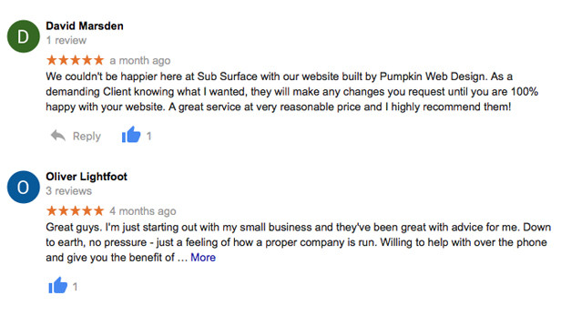 Pumpkin Web Design Reviews on Google